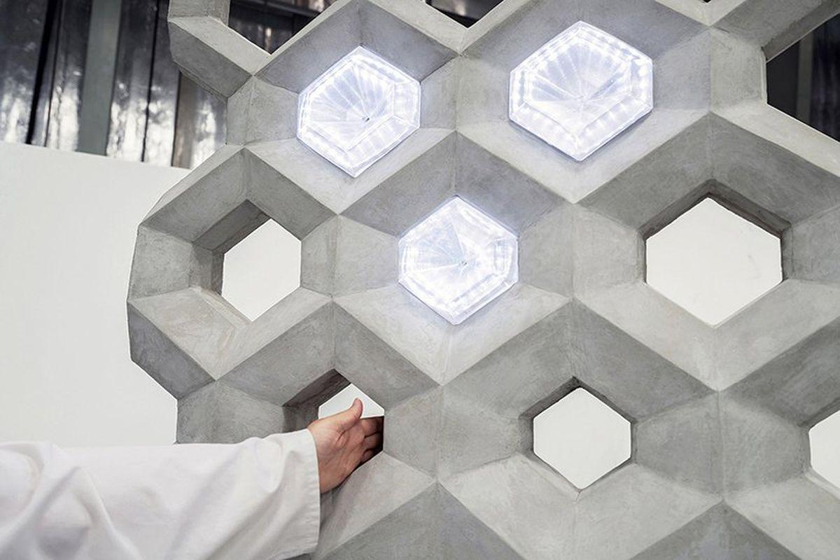 Concrete hexagon with light