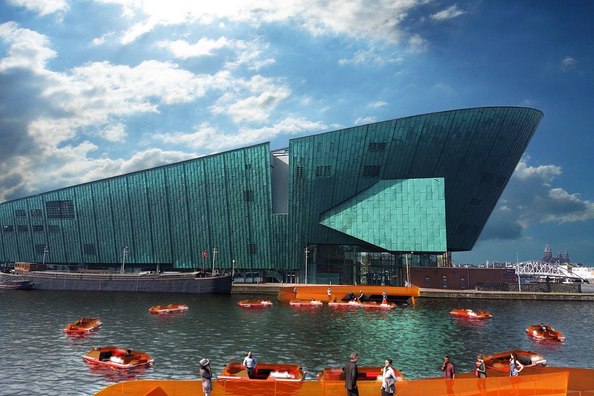 Rendering of small orange robotic boats on waterway in Amsterdam.