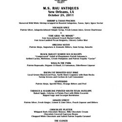 The menu from the Patron Secret Dining Society in New Orleans, October 28, 2011.