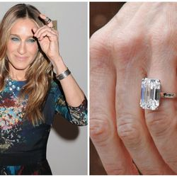 Matthew Broderick gave this timeless emerald-cut solitaire ring to Sarah Jessica Parker nearly two decades ago; the couple has been married since 1997.