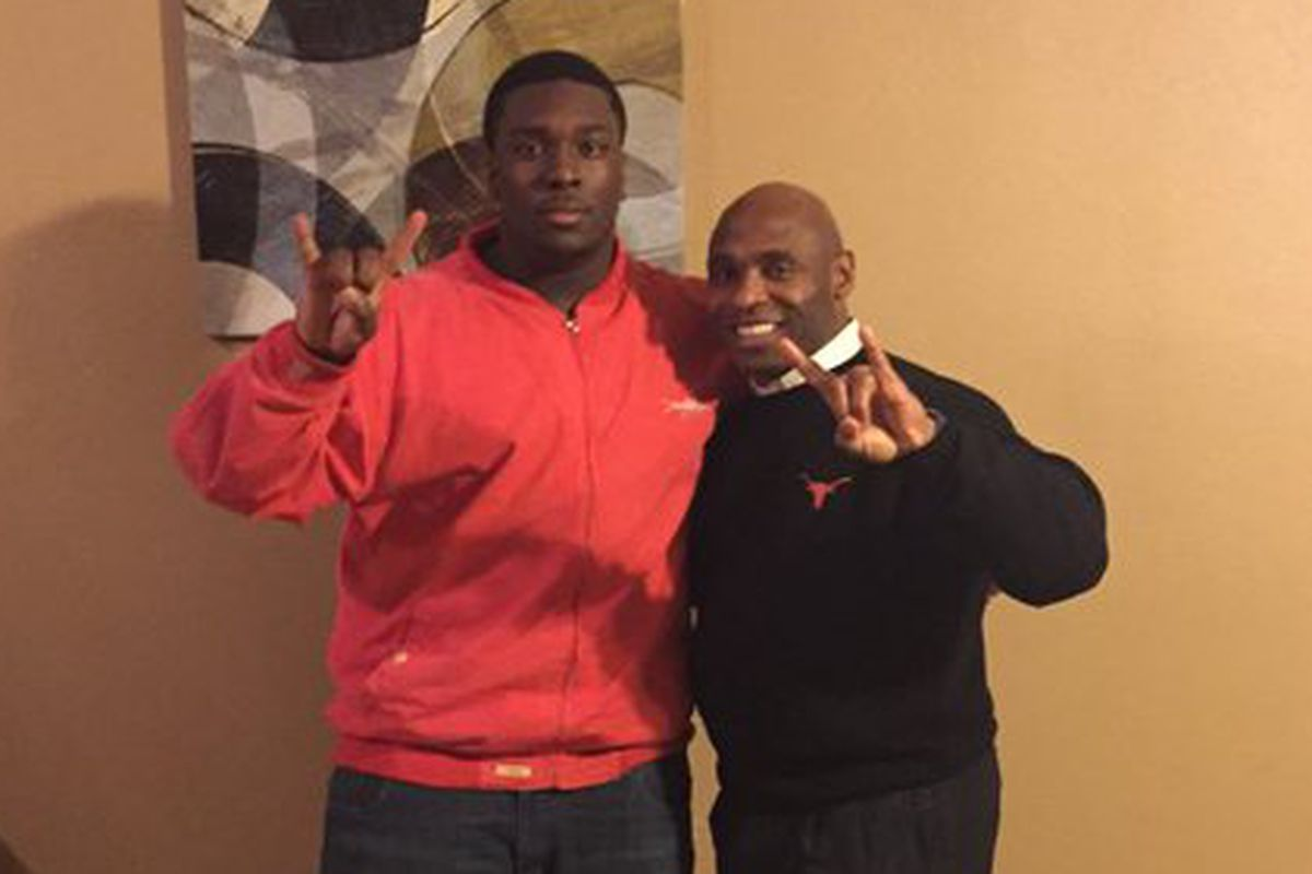 Chris Daniels with Charlie Strong on his in-home visit
