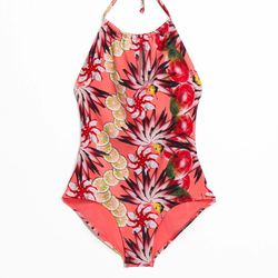 Tropical print swimsuit, $27 (was $55)