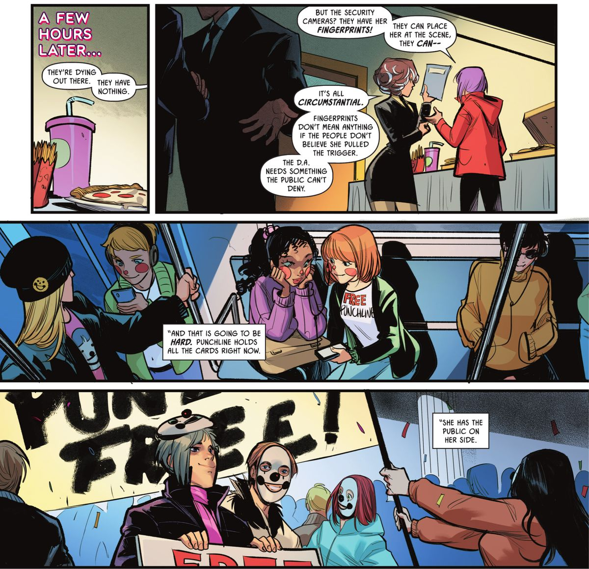 """Leslie Tompkins and Harper Row discuss Punchline's court case. The prosecution is floundering and """"she has the public on her side,"""" in The Joker #1, DC Comics (2021)."""