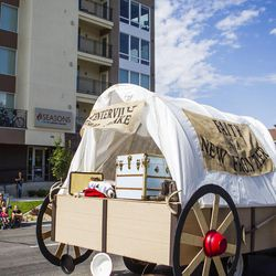 The Centerville Utah Stake float is pictured during the Days of '47 Union Pacific Railroad Youth Parade held Saturday, July 18, 2015, in Salt Lake City.