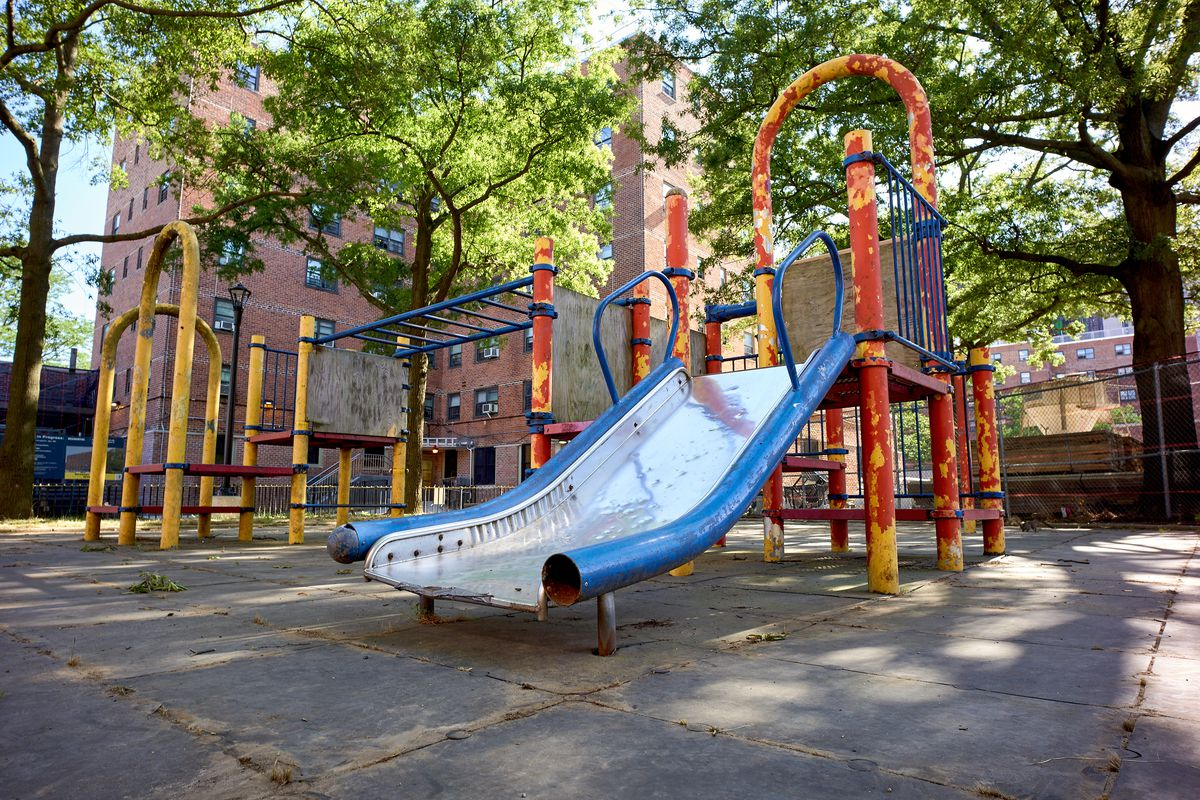 An empty playground at the Gravesend Houses, July 14, 2020.