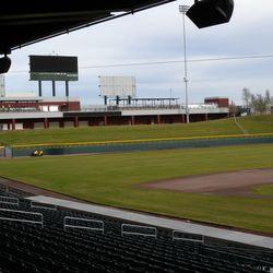 View down third-base line toward left field
