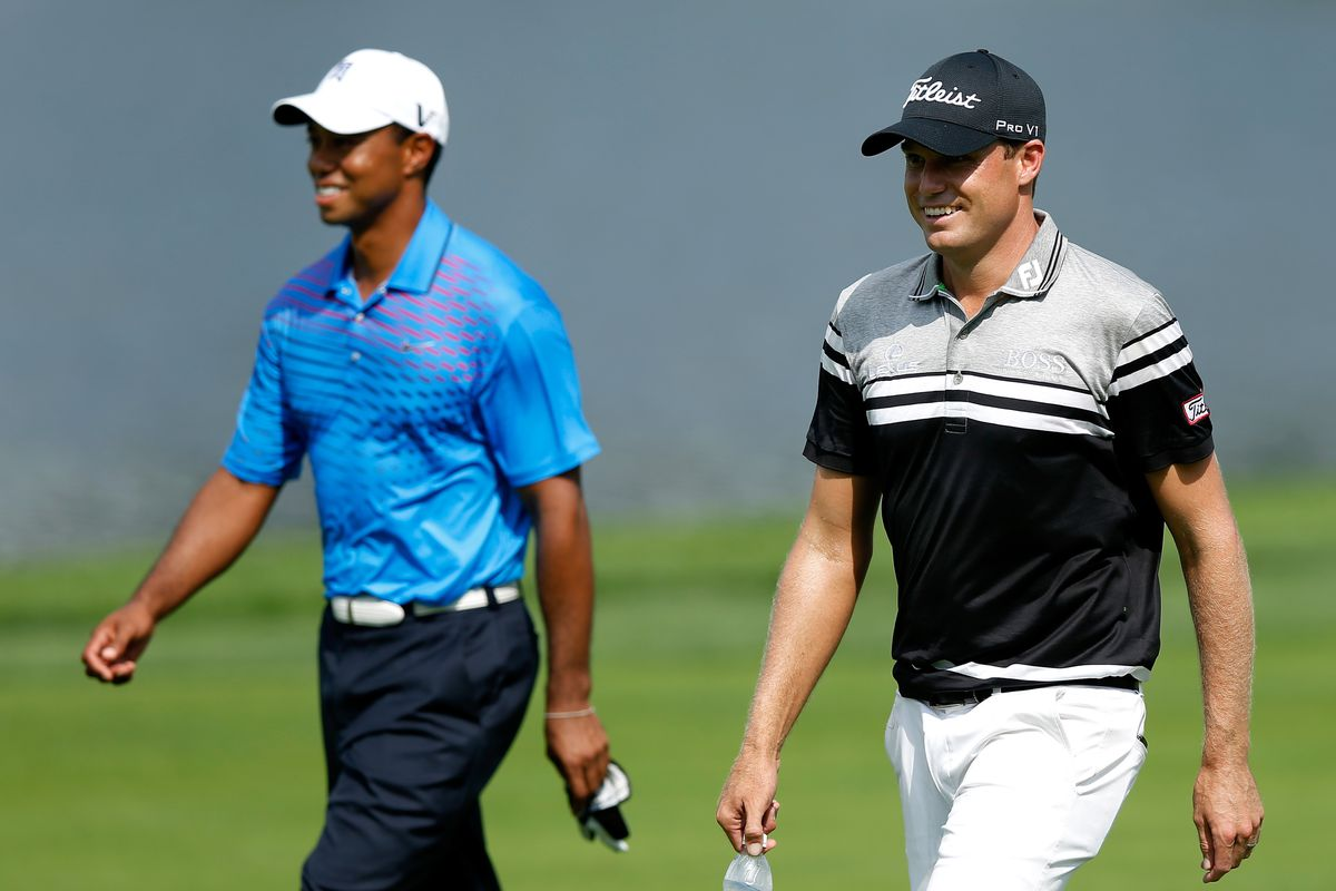 CARMEL, IN - SEPTEMBER 06:  (L-R) Tiger Woods and Nick Watney walk on the 10th hole during the first round of the BMW Championship at Crooked Stick Golf Club on September 6, 2012 in Carmel, Indiana.  (Photo by Scott Halleran/Getty Images)
