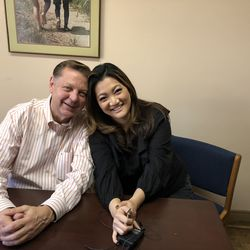 Ji Suk Yi with Fr. Michael Pfleger of St. Sabina Church. | Rubye Lane/ For the Sun-Times