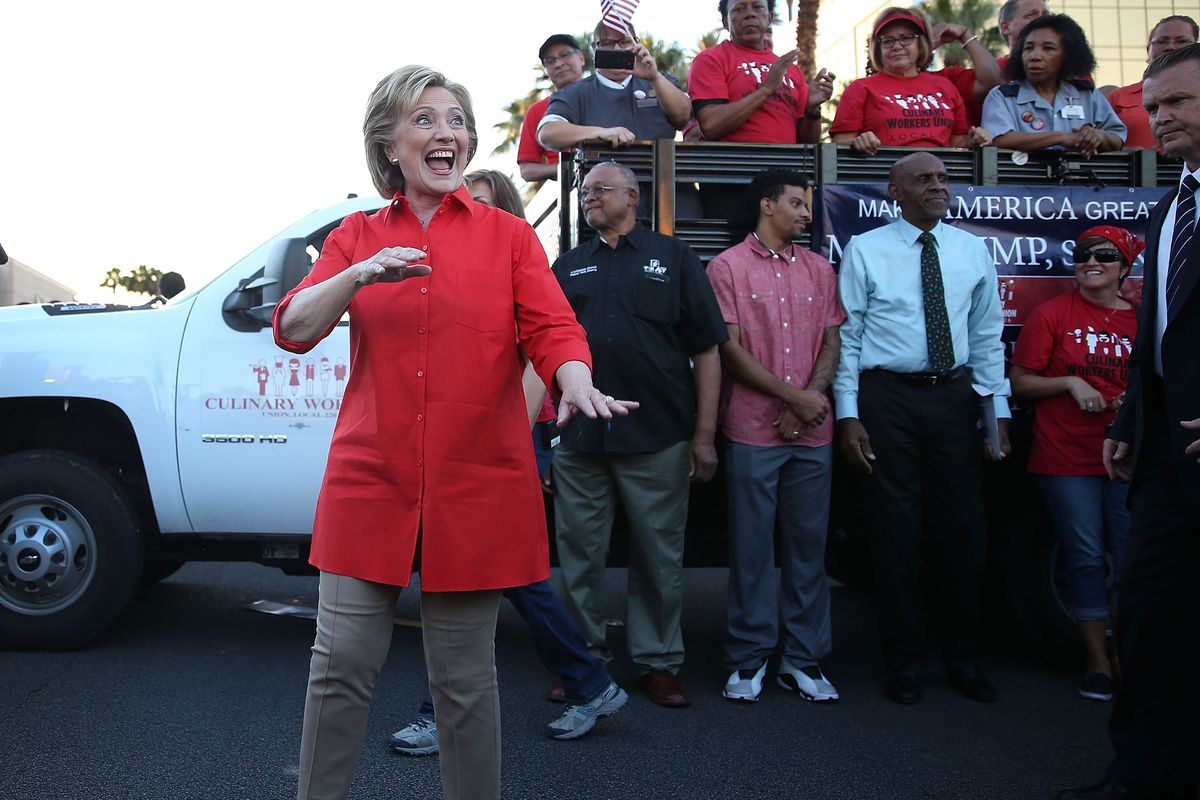Democratic presidential candidate Hillary Clinton prepares to leave after speaking to union members gathered in front of the Trump International Hotel & Tower Las Vegas.