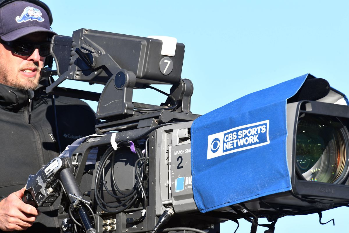 General view of a CBS broadcast camera in the first half against the San Jose State Spartans at Sonny Lubrick Field at Colorado State Stadium.