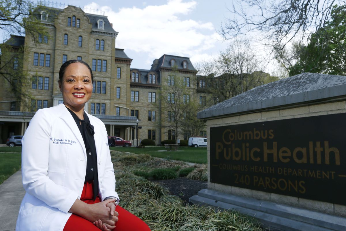 Dr. Mysheika W. Roberts, the health commissioner for Columbus Public Health, poses for a portrait in Columbus, Ohio, on Wednesday, April 14, 2021.