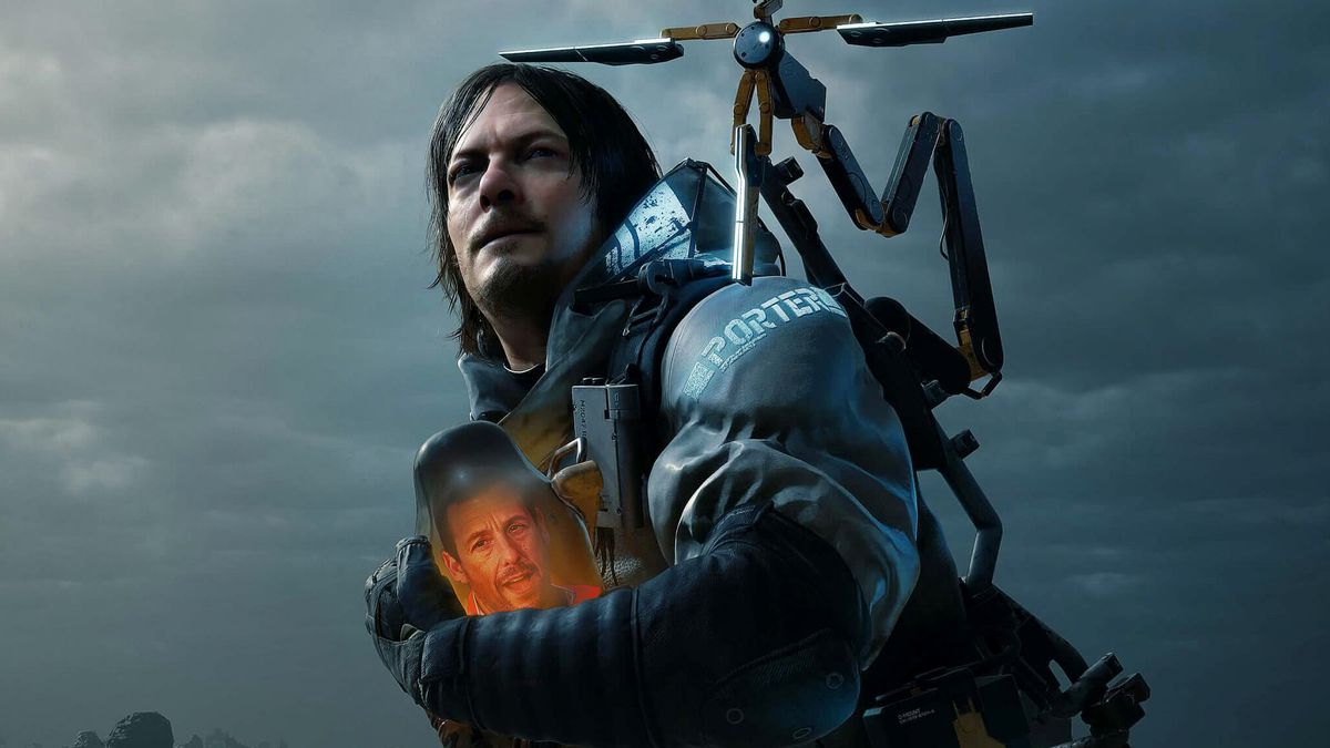 Collage illustration featuring the face of Adam Sandler placed on BB from the Death Stranding video game