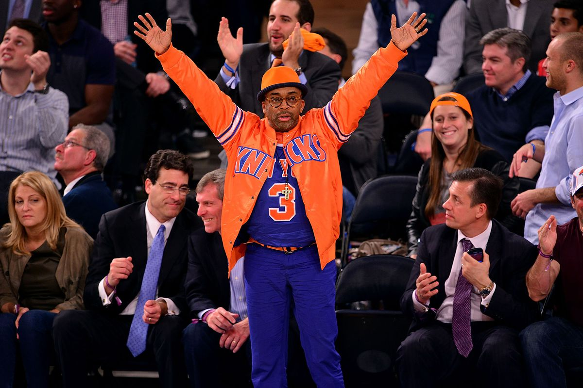Spike Lee at a New York Knicks game at Madison Square Garden.