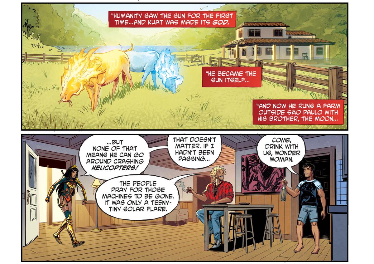 Con el traje completo, Yara Flor entra pisando fuerte en la sala de estar normal de dos hermanos, los tradicionales dioses brasileños del sol y la luna para amonestar al hermano sol por derribar un helicóptero más temprano en el día, en Future State: Superman / Wonder Woman # 1, DC Comics (2021).