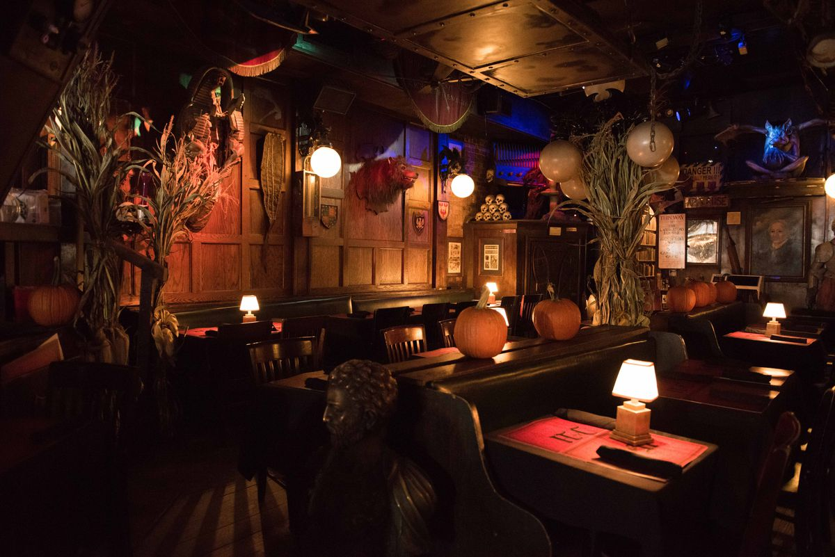 The dining room at Jekyll & Hyde, decorated with pumpkins and cornstalks.