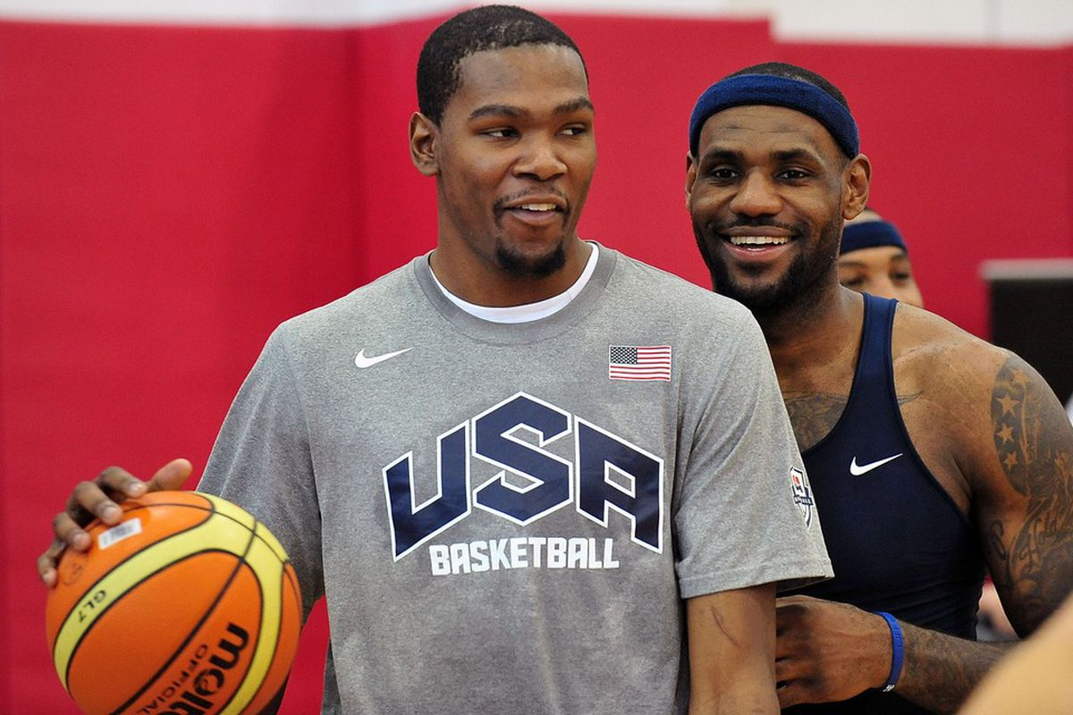 July 7, 2012; Las Vegas, NV, USA; Team USA guard Kevin Durant (left) and forward LeBron James during practice at the UNLV Mendenhall Center. Mandatory Credit: Gary A. Vasquez-US PRESSWIRE
