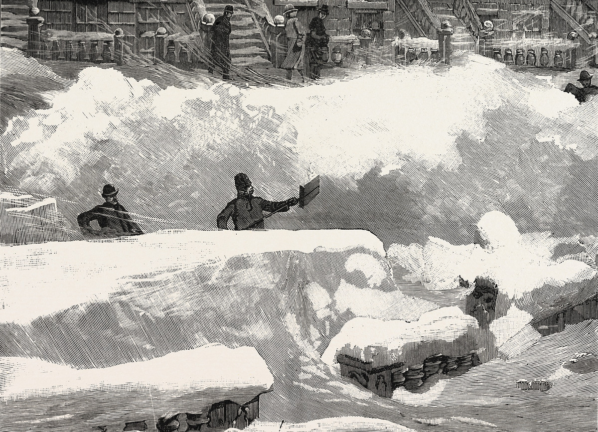 Giant snow drifts during the 1888 blizzard.