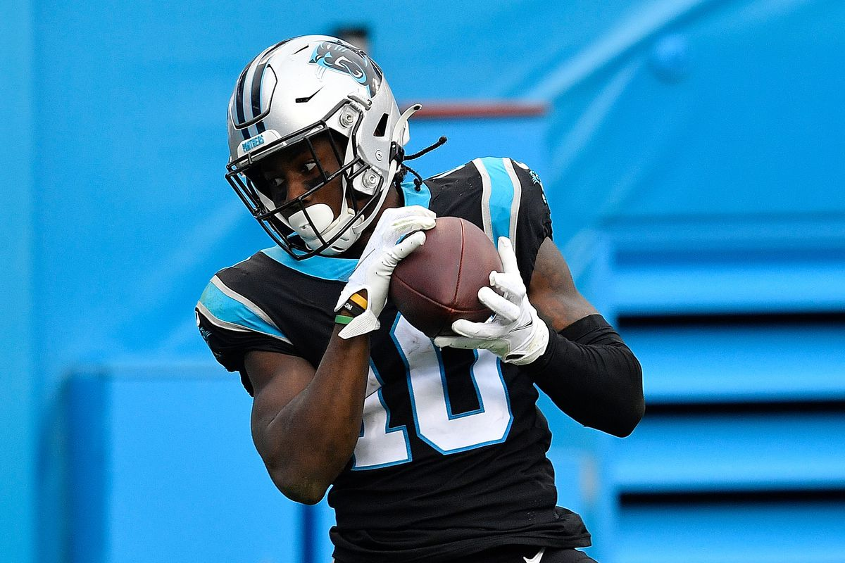 Curtis Samuel #10 of the Carolina Panthers pulls in this touchdown reception against the Detroit Lions at Bank of America Stadium on November 22, 2020 in Charlotte, North Carolina.