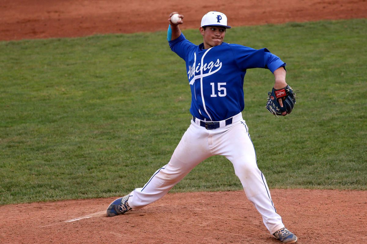 Pleasant Grove's Payton Henry throws a pitch during the 5A championship baseball game against Bingham at the Brent Brown Ballpark in Orem on Friday, May 22, 2015. Pleasant Grove won 6-2.
