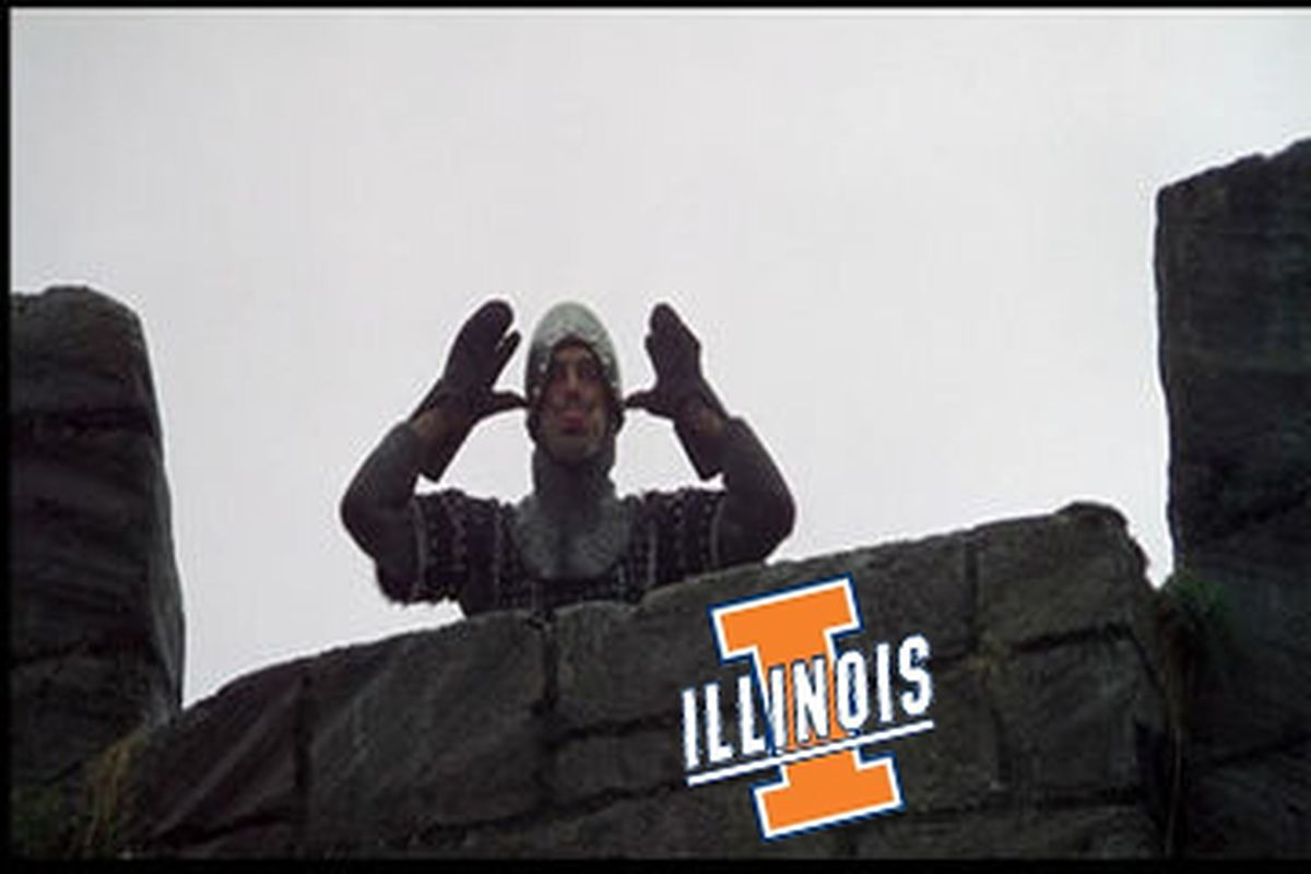 A noble Illini knight defending their castle against MAC teams.