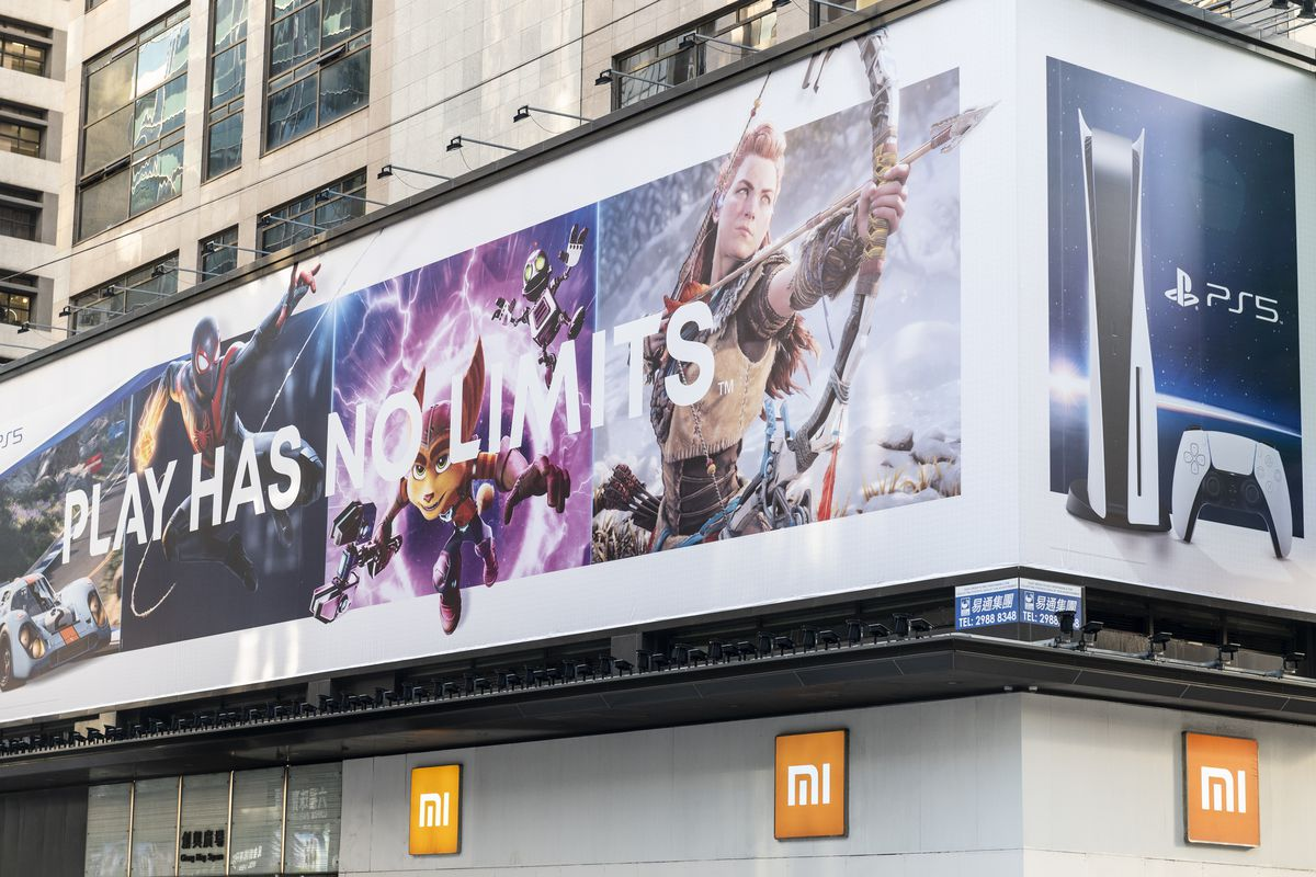 Japanese video gaming system brand created and owned by Sony Computer Entertainment, PlayStation 5, advertisement billboard seen in Hong Kong.