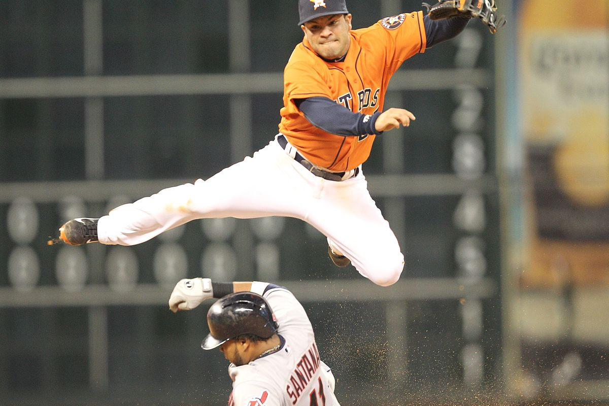 Jose Altuve turning the Astros' third double play.