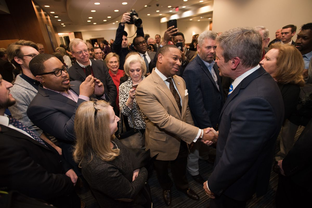 Shelby County Schools Superintendent Joris Ray greets Gov. Bill Lee following the regional State of the State address for West Tennessee in Memphis on March 7, 2019.