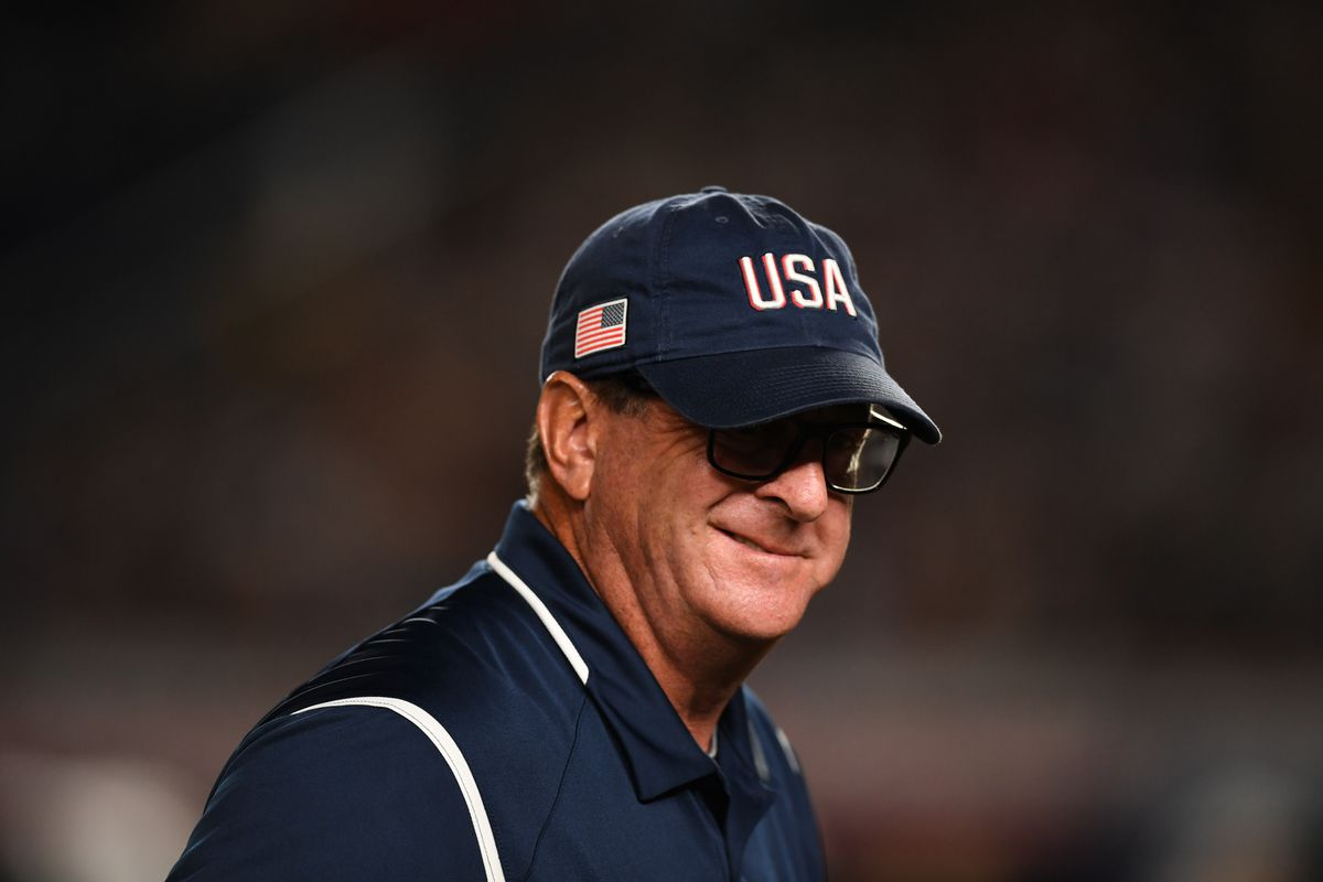 Head Coach Ken Eriksen reacts during the Playoff Round match between United States and Japan at ZOZO Marine Stadium on day ten of the WBSC Women's Softball World Championship on August 11, 2018 in Chiba, Japan.