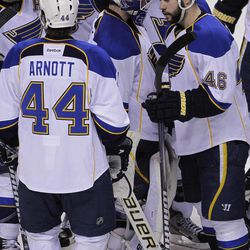 St. Louis Blues goalie Brian Elliott (1) is surrounded by teammates against the San Jose Sharks after Game 3 of an NHL Stanley Cup first-round hockey playoff series, Monday, April 16, 2012 in San Jose, Calif. The Blues defeated the Sharks 4-3.