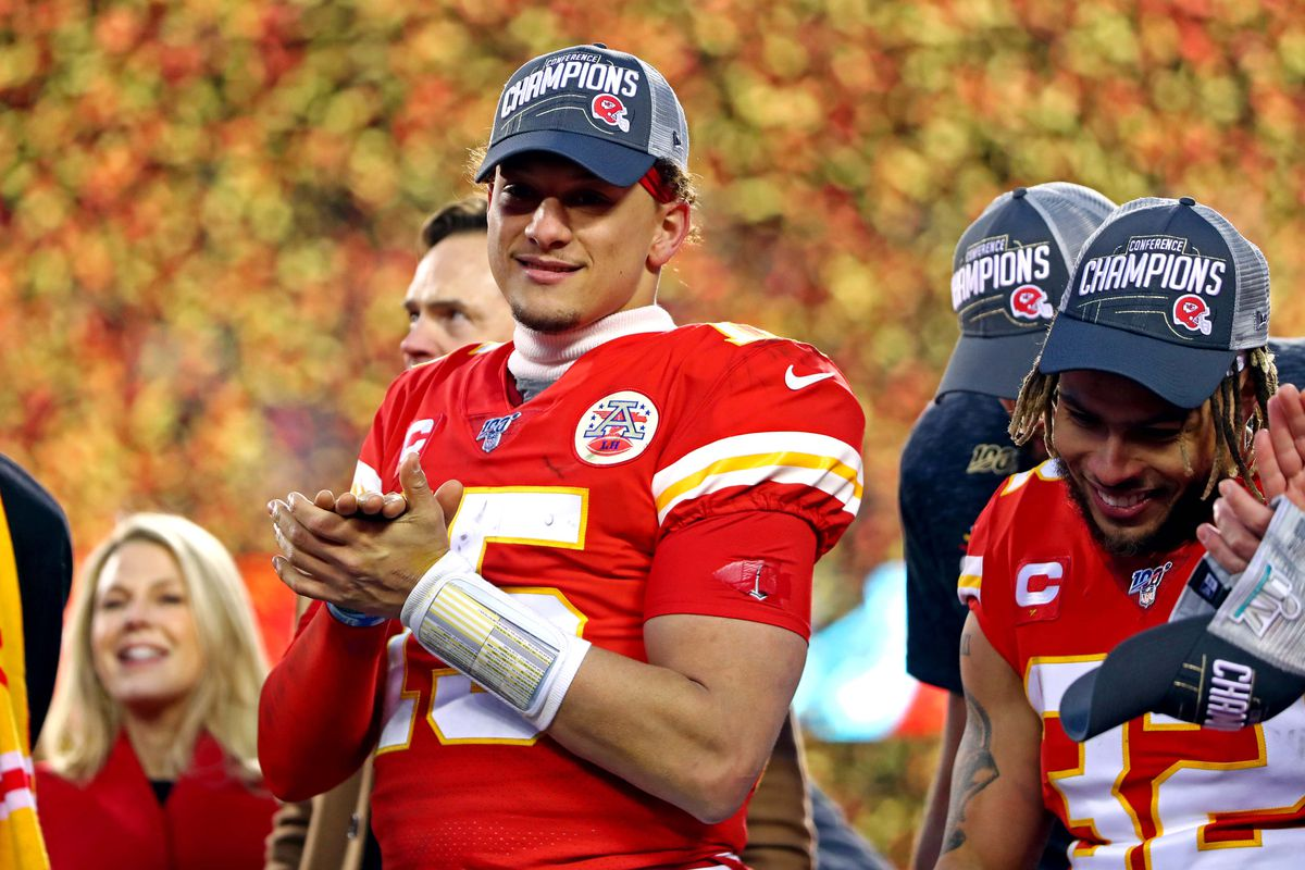 Kansas City Chiefs quarterback Patrick Mahomes celebrates after beating the Tennessee Titans in the AFC Championship Game at Arrowhead Stadium.