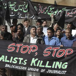 In this Friday, Jan 20, 2012 photo,  journalists demonstrate against the killing of Pakistani journalists in the violent Baluchistan capital of Quetta, Pakistan. The telephone call to local journalists generally comes in the late evening. The voice on the other end is usually a Sunni militant with a statement he wants printed threatening of violence or claiming responsibility for attacks that already occurred. Journalists fear being killed if they don't print the messages.