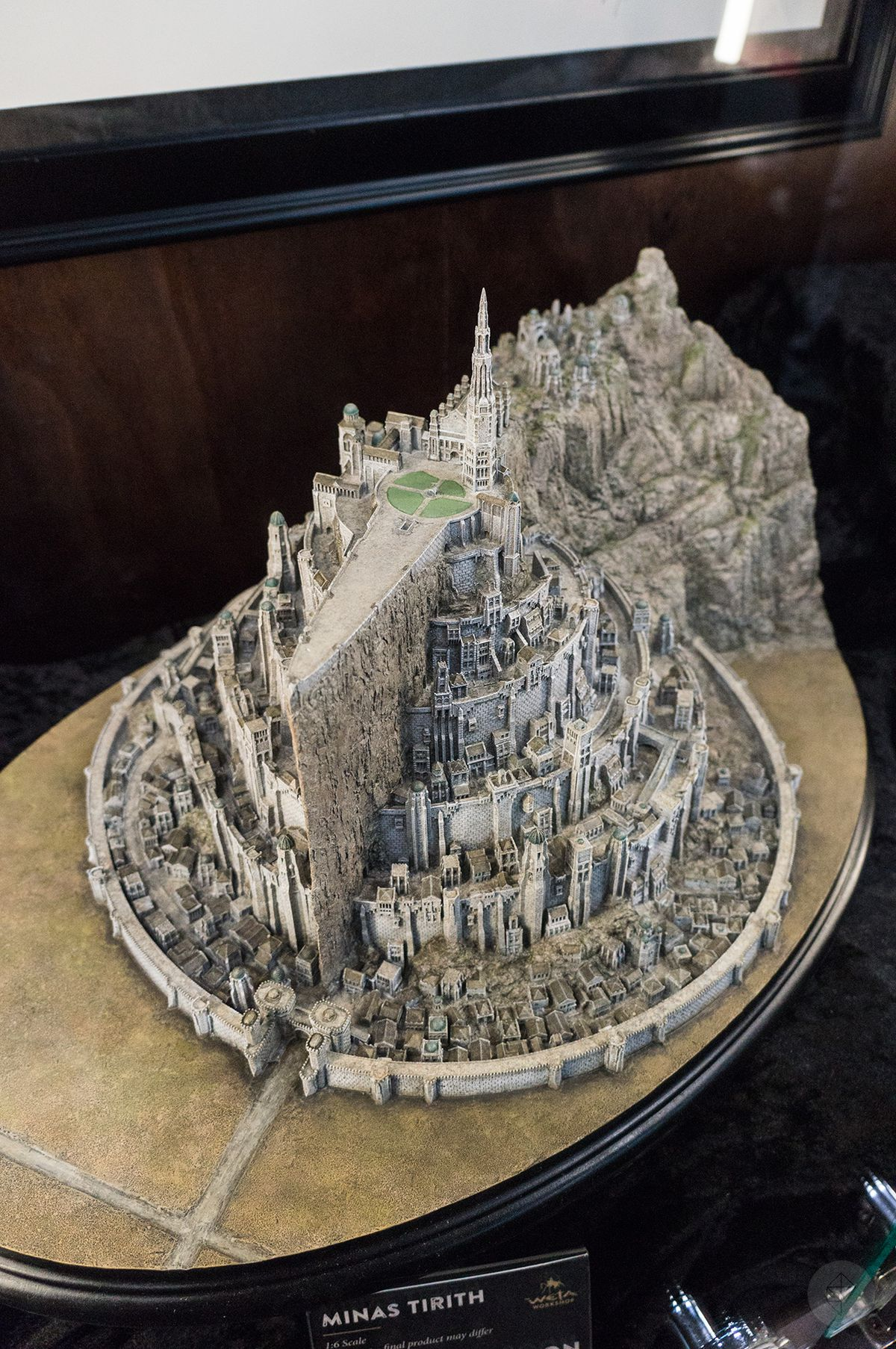 an overhead shot of a one-sixth scale model of Minas Tirith at the Weta Workshop booth at NYCC 2015