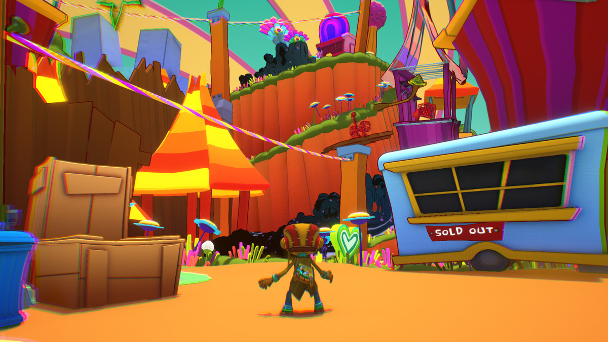 Razputin surveys a colorful platforming landscape