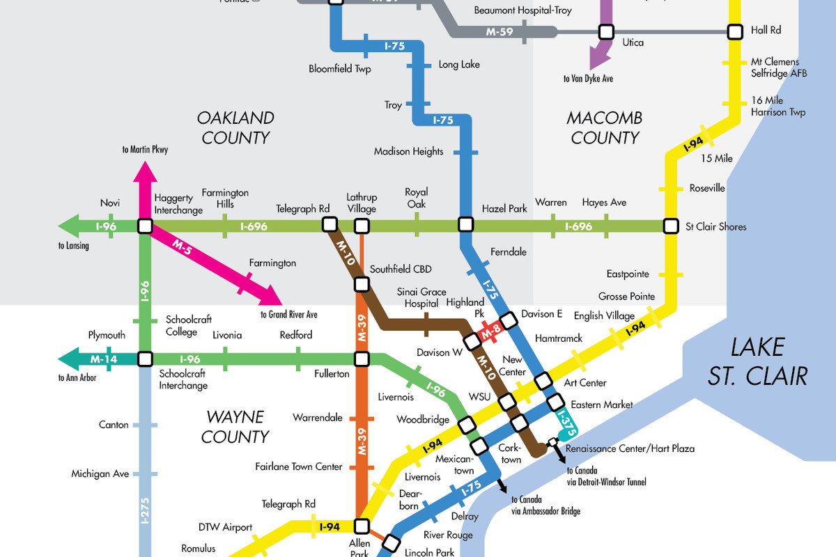 Detroit Homes Neighborhoods Architecture And Real Estate Curbed Plumbing Diagram Two Tale Residence Story This Map Reimagines Metro Detroits Freeways As Subway Lines