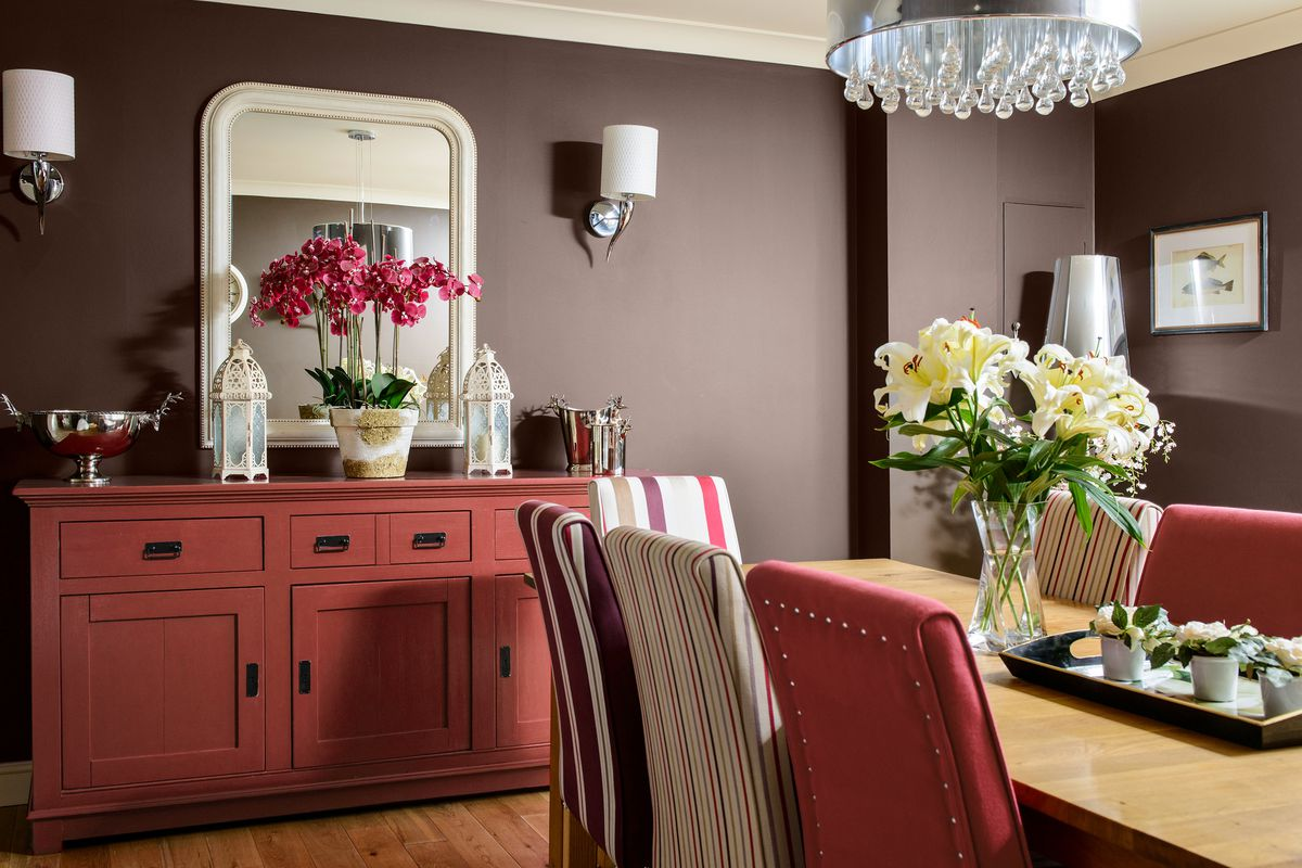 Warm gray painted dining room.