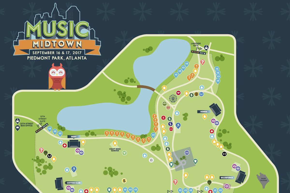 A map for Music Midtown 2017 in Atlanta.