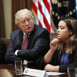 President Donald Trump talks to Melissa Oliver-Storz, right, during a meeting with immigration crime victims to urge passage of House legislation to save American lives in the Cabinet Room at the White House in Washington, Wednesday, June 28, 2017.