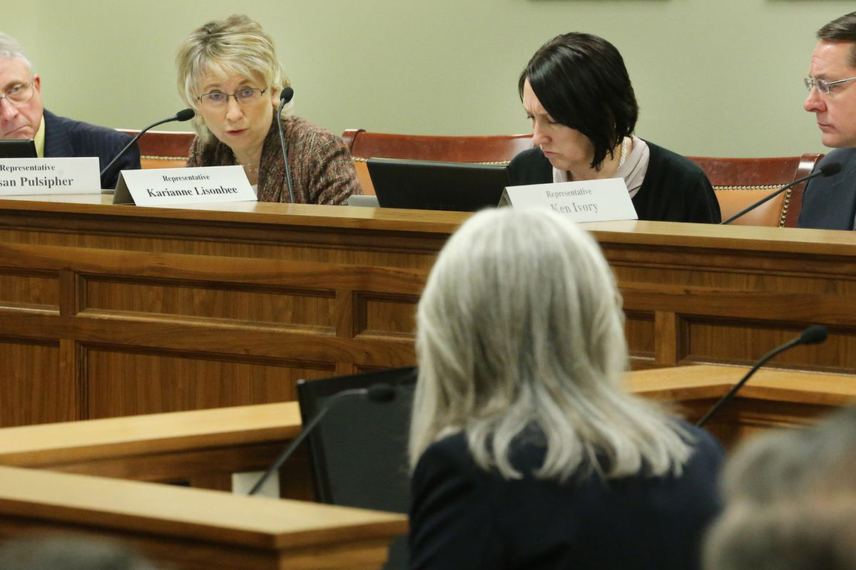 Rep. Susan Pulsipher, R-South Jordan, second from left, speaks during a hearing before the House Judiciary Committee at the Capitol in Salt Lake City on Monday, March 6, 2017.