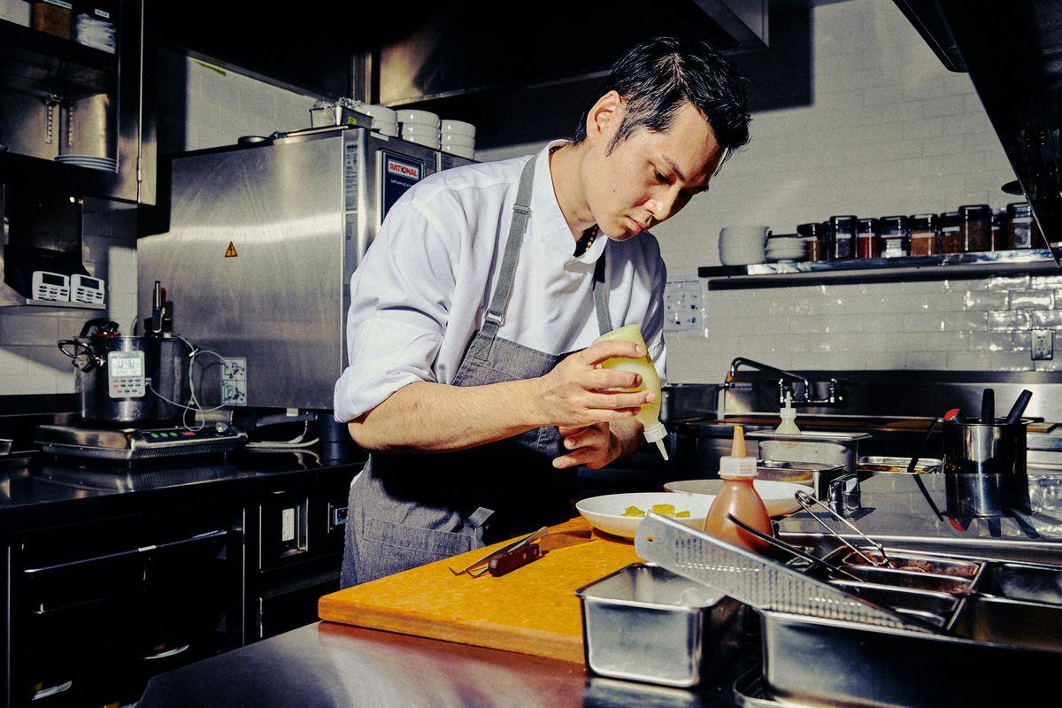 Pastry chef Kazuo Fujimura prepares a dessert