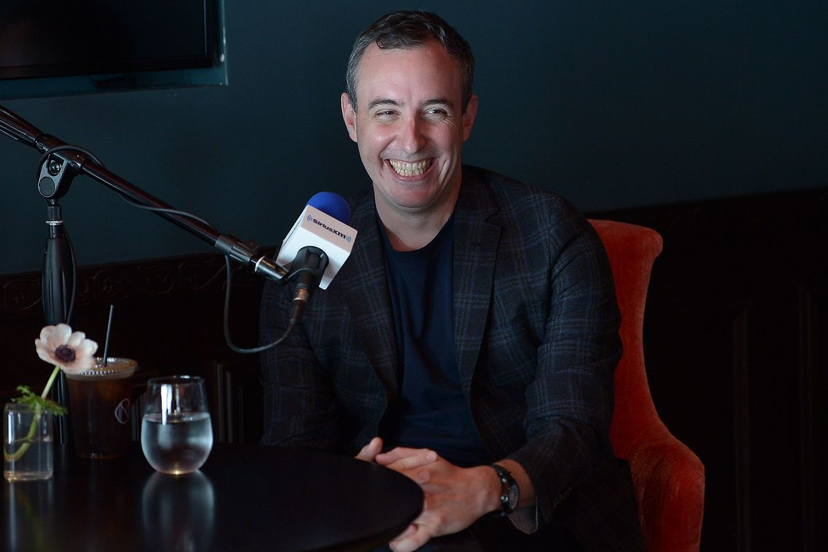 Restaurateur and SiriusXM host Will Guidara tapes his SiriusXM show, First Date with Will Guidara, featuring Los Angeles Times food critic Jonathan Gold