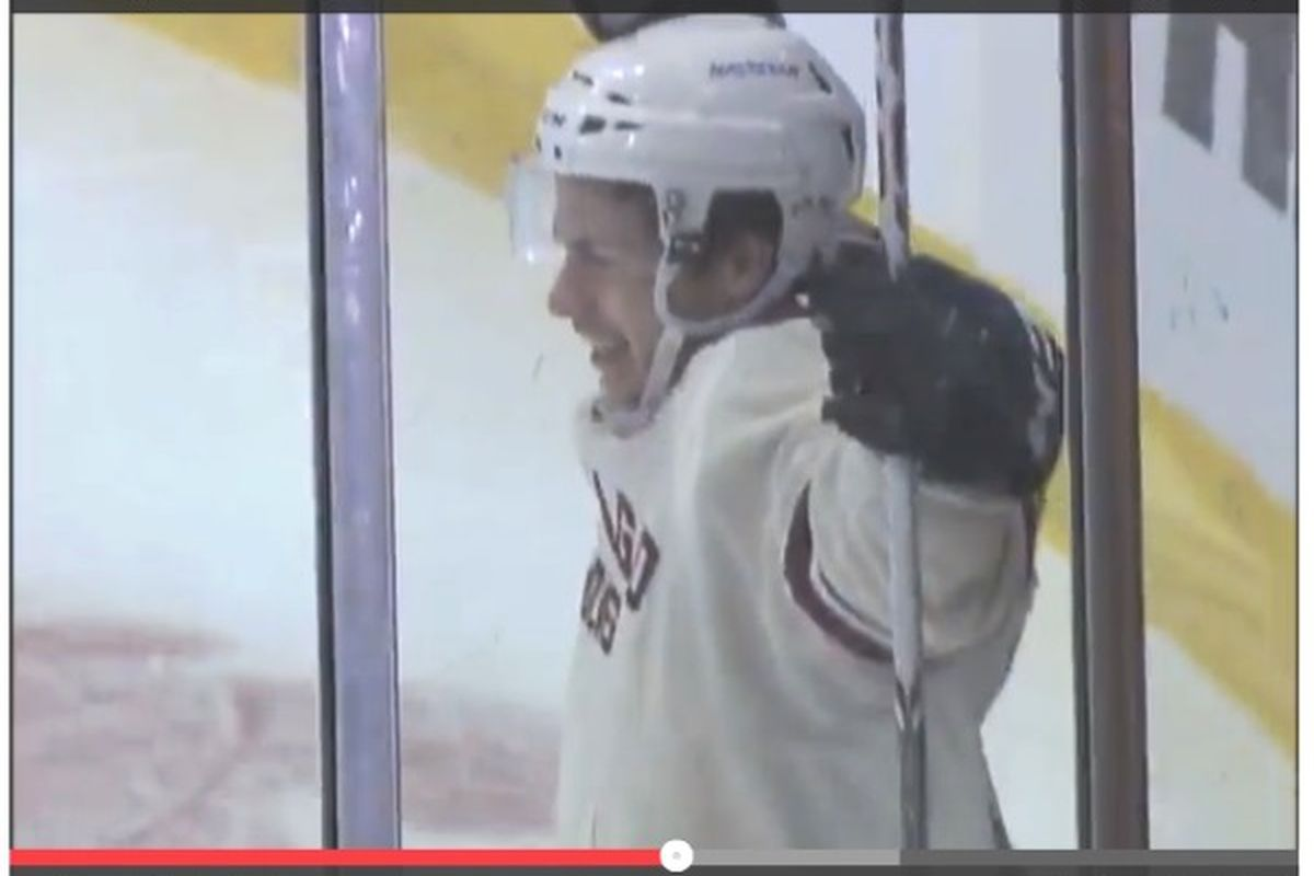 Ty Rattie is a happy camper after netting his first pro goal in the Wolves' 3-1 win over San Antonio last night.