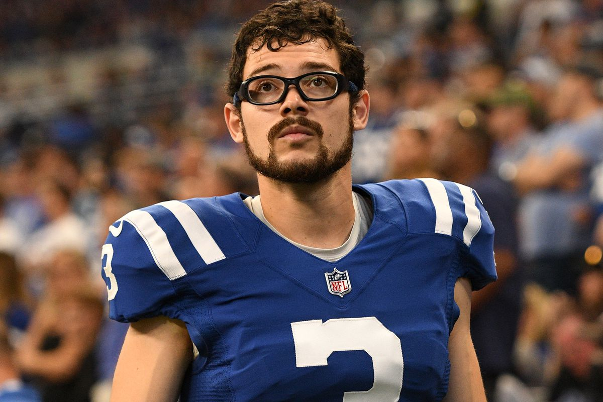 Indianapolis Colts Place Kicker Rodrigo Blankenship (3) looks on during the NFL football game between the Los Angeles Rams and the Indianapolis Colts on September 19, 2021, at Lucas Oil Stadium in Indianapolis, Indiana.