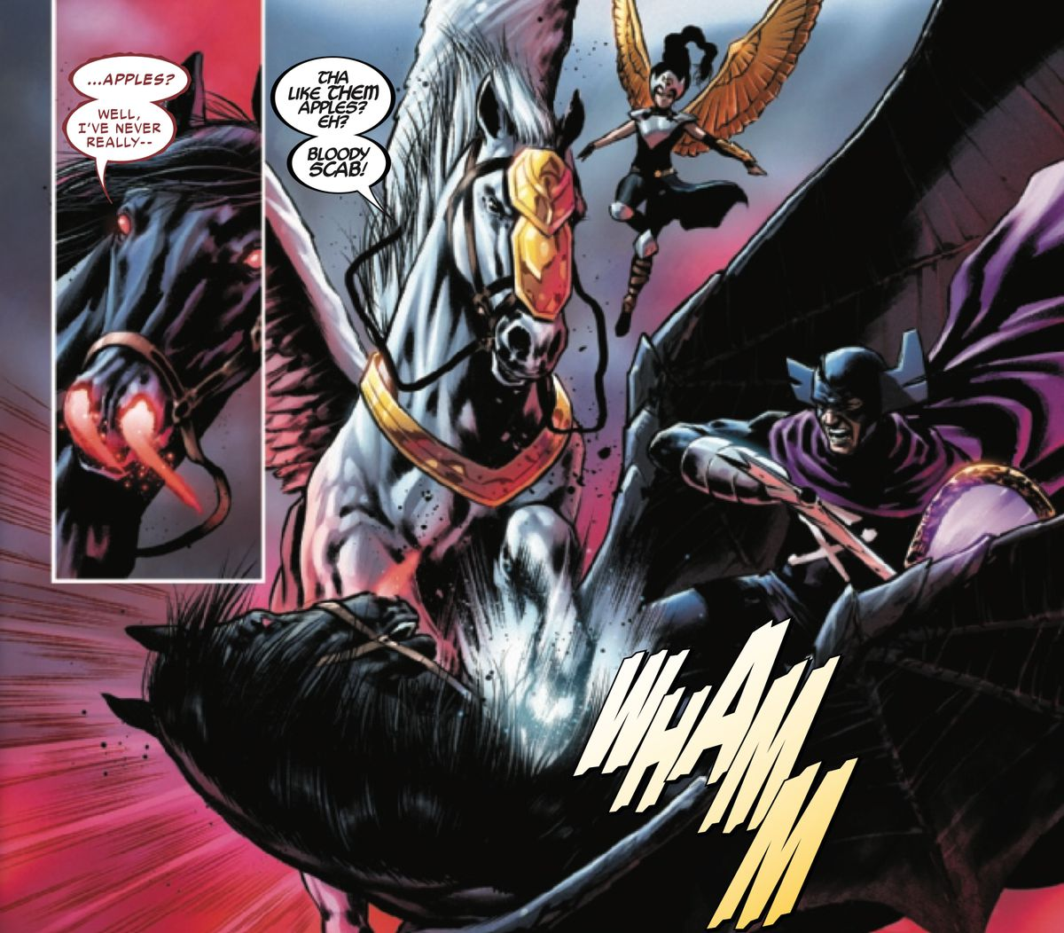 """Valkyrie's talking winged horse attacks an infernal winged horse, shouting """"Tha like them apples? Eh?"""" and calling it a scab, in Valkyrie #5, Marvel Comics (2019)."""