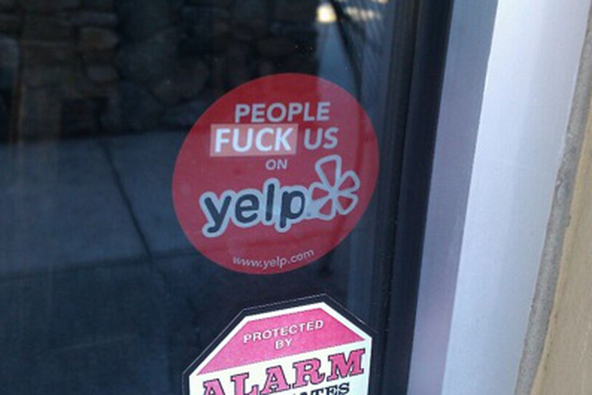 Restaurant Badge Reads People Fuck Us On Yelp Eater