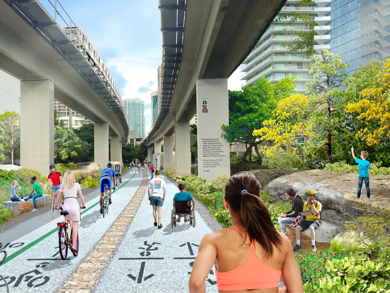 A rendering of the Underline, a 10-mile linear park and $120 million redevelopment of open space under a span of Metrorail tracks roughly parallel to the north end of the Miami River.