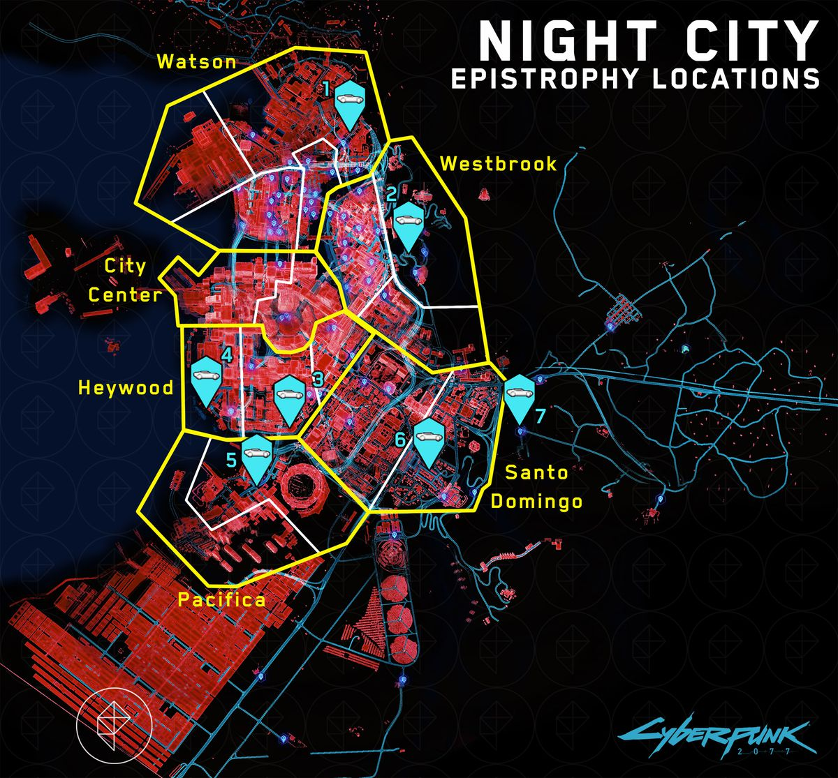 A map of all the Delamain cab locations in Cyberpunk 2077