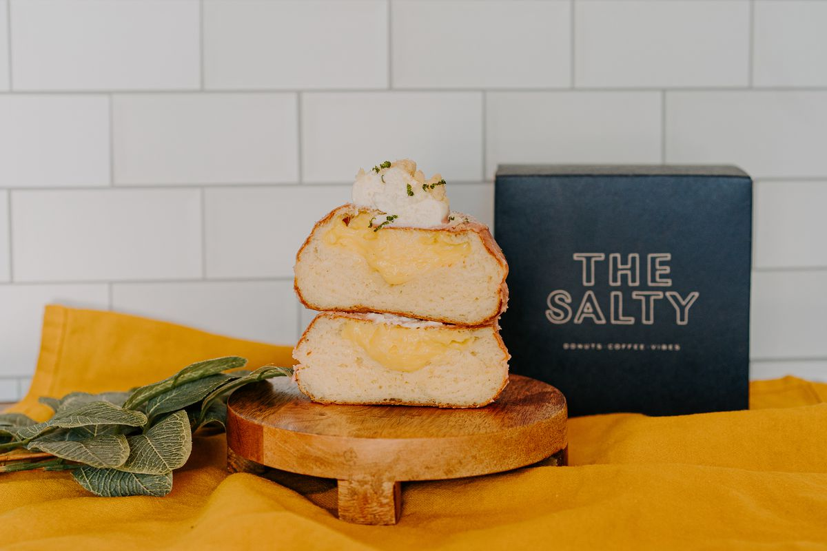A cross-section of a filled doughnut from Salty Donut