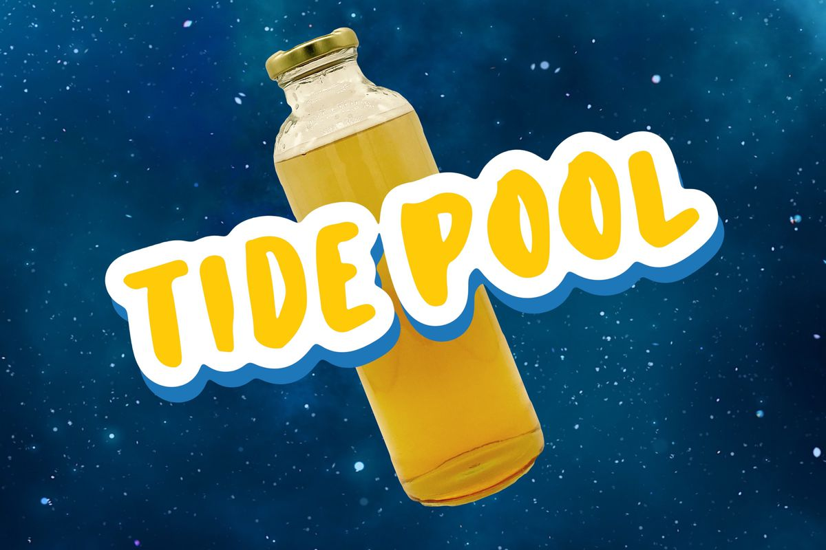 """Block letters with the words """"Tide Pool"""" and an image of a neon yellow drink are Photoshopped over a photo of outer space."""