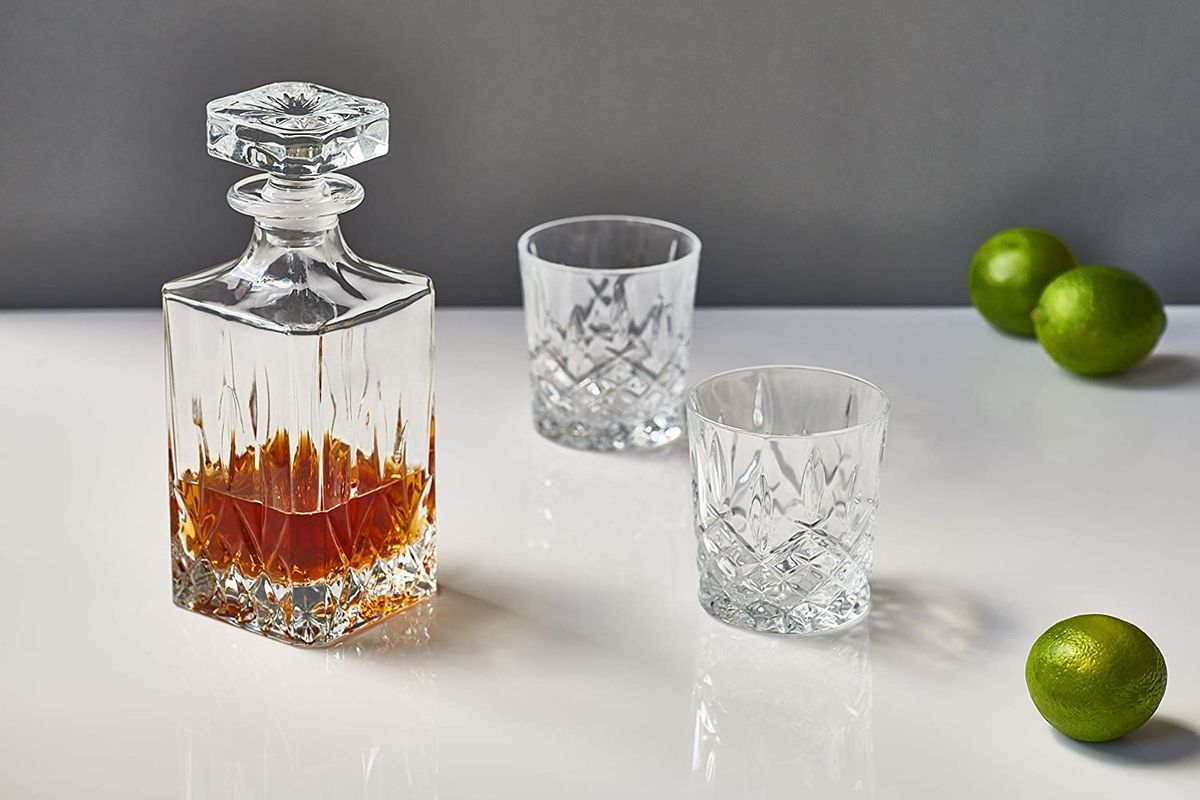 Two old fashioned glasses and a carafe