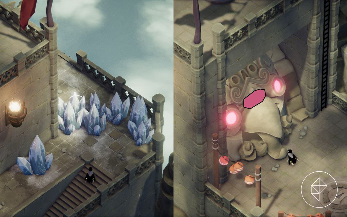 A split image that shows a blocked off icy path on the left and a magic shrine on the right.